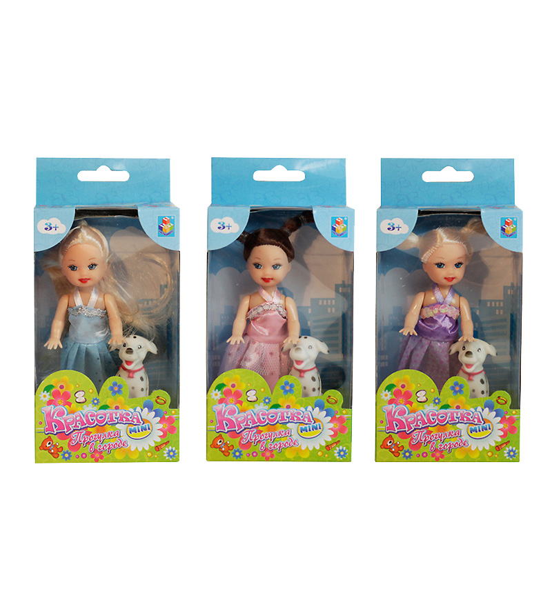 Кукла Красотка 10 см в платье и туфельках с собачкой