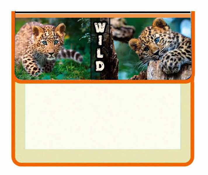 Папка для тетрадей А5 Леопард 2отд на липучке