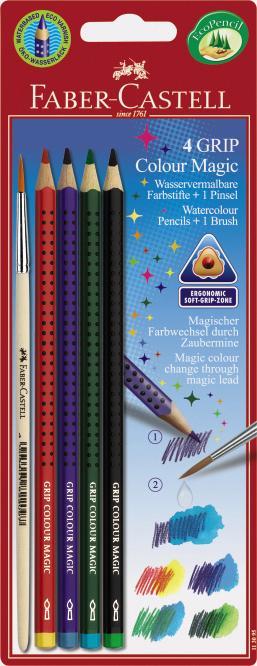 Карандаши цветные 4 цв FC Grip Colour Magic акварельные + кисточка
