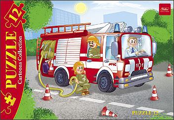 Пазл 12 Пожарная машина в рамке
