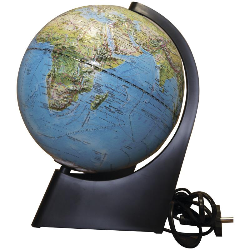 Глобус d-21 полит./физич. рельефный (с подсветкой, на треугольн. подст