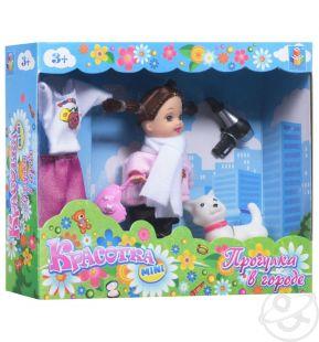 Кукла Красотка 10 см в костюме с сумочкой, феном, с кошечкой