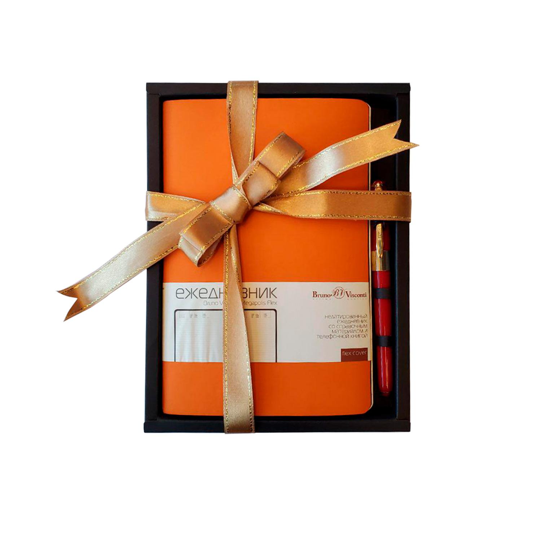 Набор подар BV Megapolis flex оранжевый ежедневник А5 + ручка