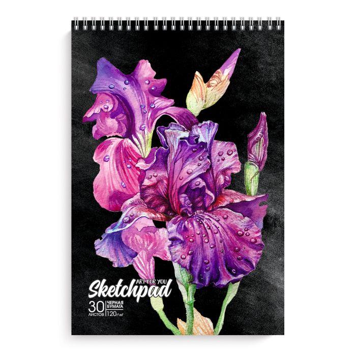 Скетчбук А4 30л спир Красивые цветы черный офсет 120 г/м2