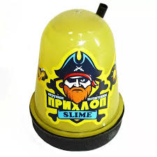 Слайм Прихлоп Slime 130гр желтый с трубочкой