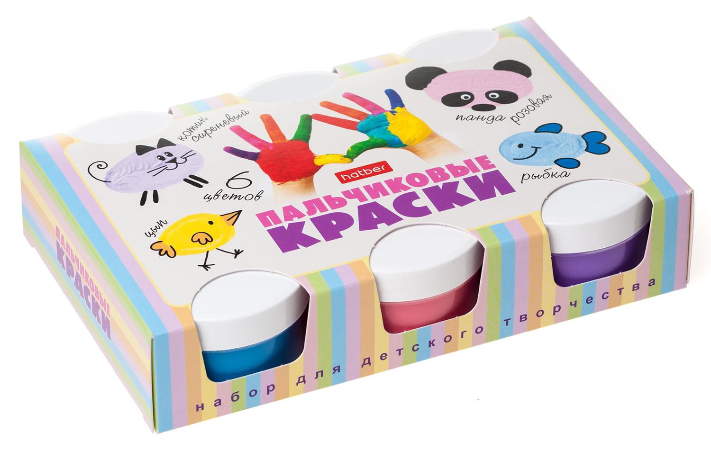 Гуашь пальчиковая 6цв Hatber Для малышей