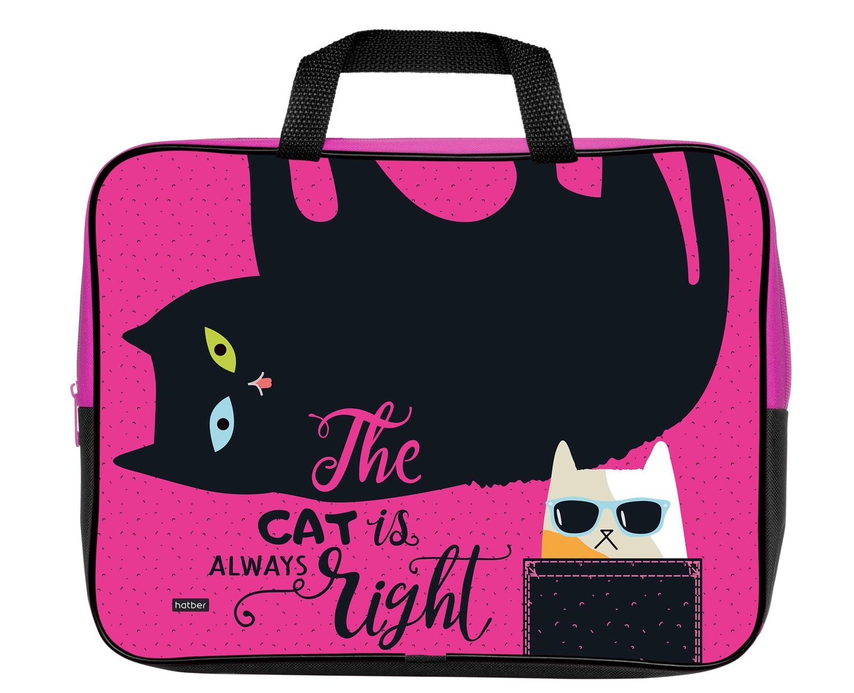 Сумка А4 тканевая Hatber Все любят котиков на молнии с ручками