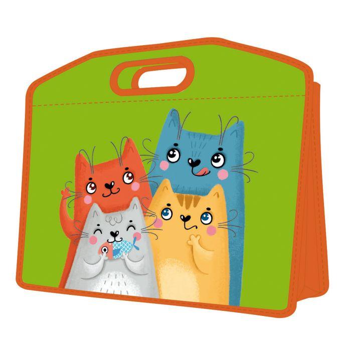 Сумка А4 пластик Коты с ручками