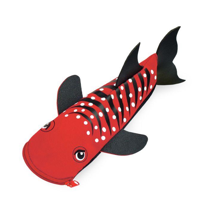 Пенал-косметичка Акула Красный объемный фигурный