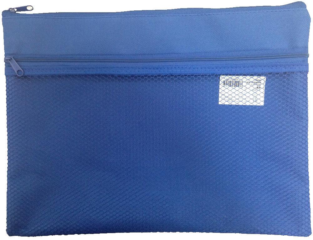 Папка для тетрадей А4 на молнии синяя ткань с сеткой