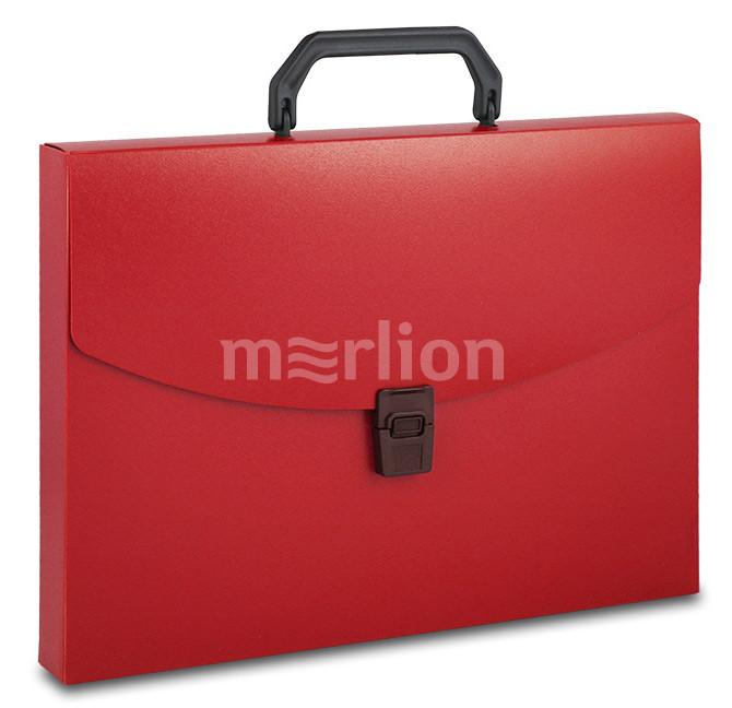 Портфель с ручкой 1отд Бюрократ красный 0,7мм