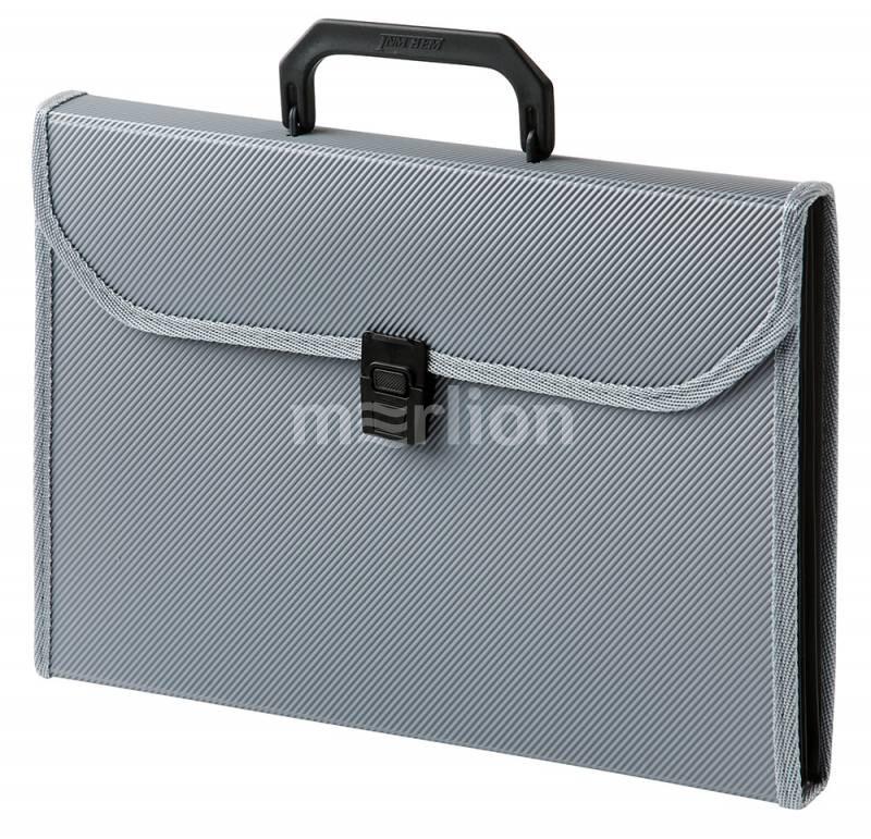 Портфель с ручкой 6отд Бюрократ ребрист. с окантовкой серый