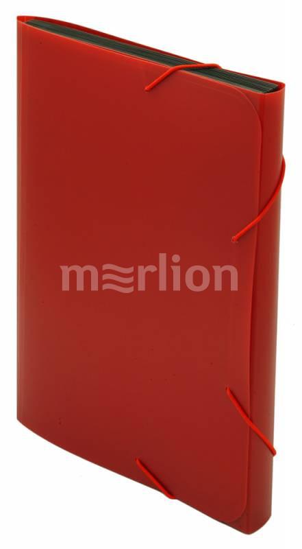Папка на резинках А4 6отд Бюрократ пластик 0,7мм красный