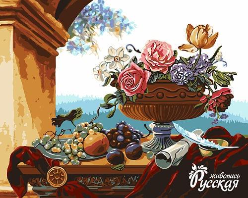 Рисование по номерам 40Х50 Ваза с цветами и фруктами
