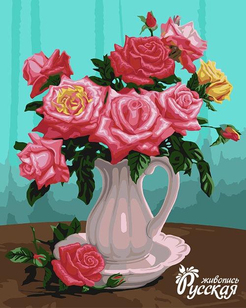 Рисование по номерам 40Х50 Розы в белой вазе