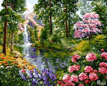 Творч Рисование по номерам 40Х50 Райские сады