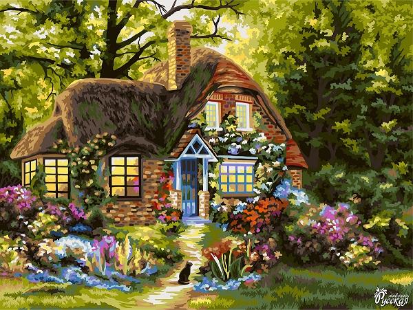 Творч Рисование по номерам 40Х50 Сказочный домик