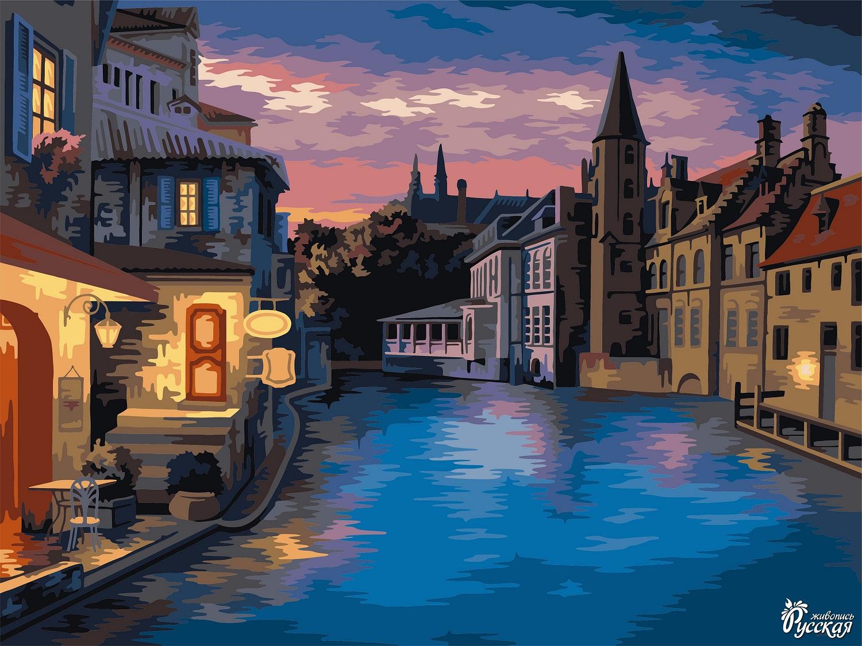 Творч Рисование по номерам 40Х50 Ночной Амстердам