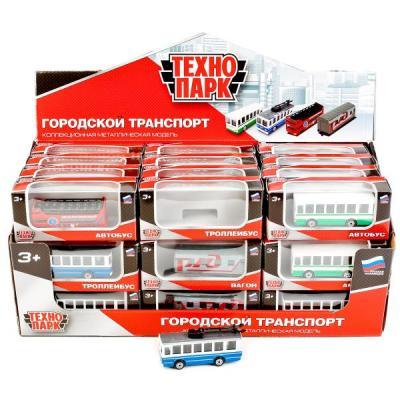 """Модель машины """"Технопарк"""" металл. 2-эт.автобус/вагон/троллейбус/автобус"""