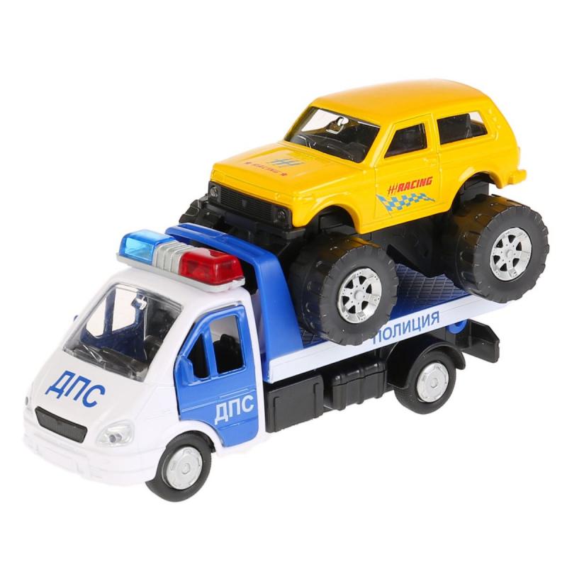 набор Машина Газ Газель Эвакуатор 12,5см Полиция + Мотоцикл 7,5см