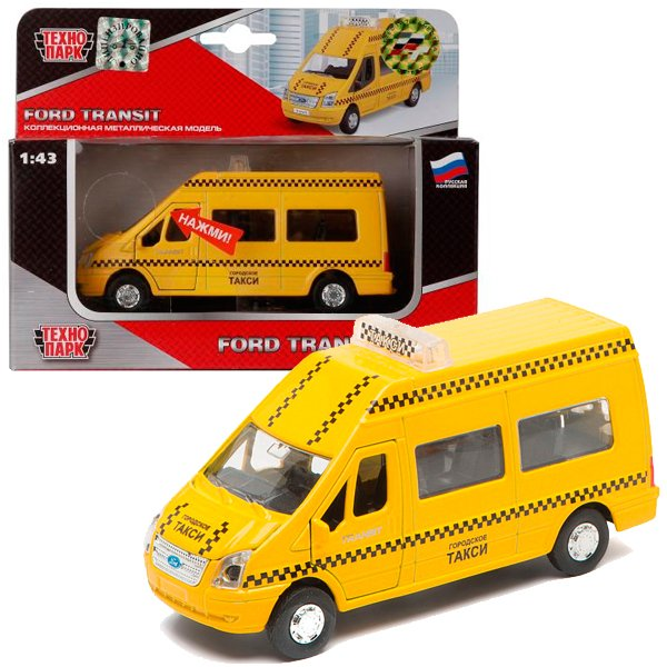 Машина Ford Transit Такси металл инерц свет, звук, открыв.двери