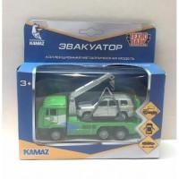 Набор Машины Камаз эвакуатор 12см + Toyota Land Cruiser 7,5см металл