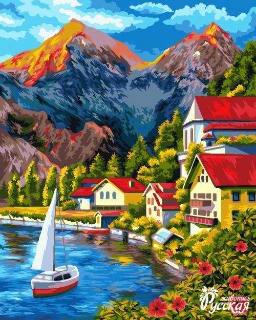 Творч Рисование по номерам 40Х50 Прибрежный городок