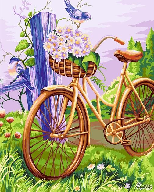 Творч Рисование по номерам 40Х50 Велосипед с корзинкой