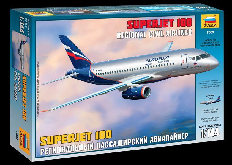 Сборная модель Суперджет 100 Региональный пассажирский авиалайнер 1/144