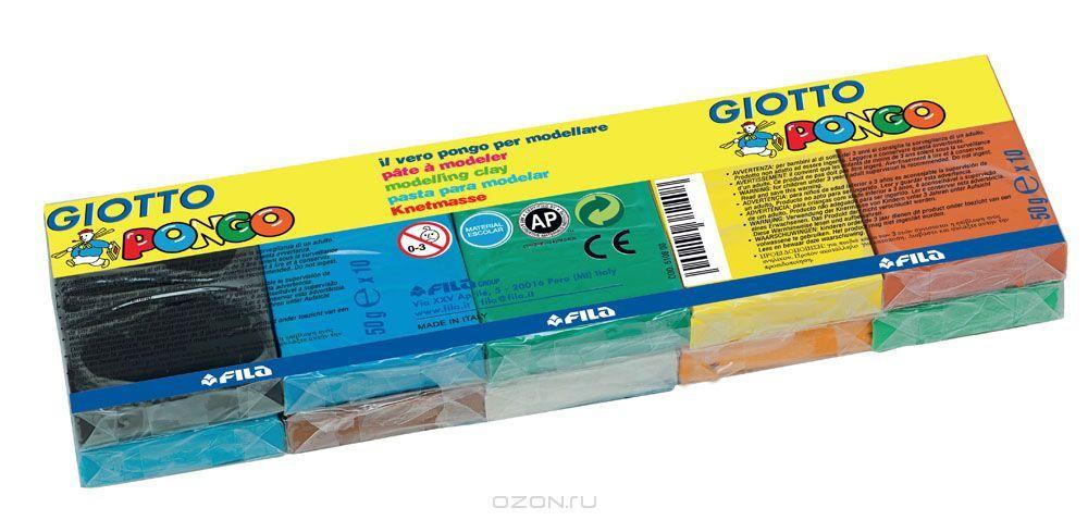 Пластилин 10 цв Giotto Pongo восковой пл/уп
