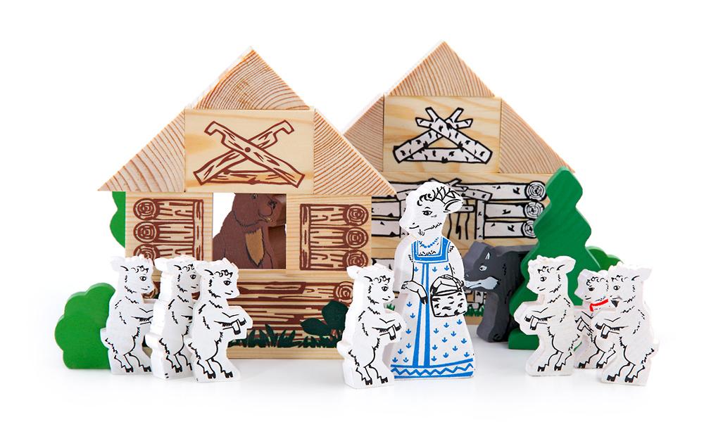 Конструктор Волк и семеро козлят 28 дет деревян