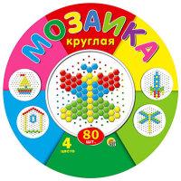 Игра Мозаика круглая 80 эл. 4цв.  d=13мм