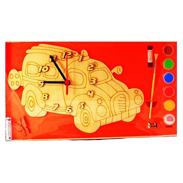 Заготовка дерево Часы с циферблатом Машинка с красками