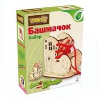 АКЦИЯ19 Игр Конструктор деревянный Вуди Карандашница Башмачок 9эл