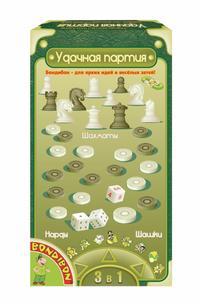 Настольная 3 в 1 Шашки, шахматы, нарды (магнитные) 13 см