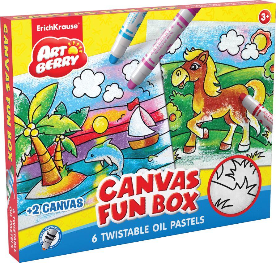 Набор д/творчества EK Canvas Fun box Artberry пастель 6цв 2 холста для