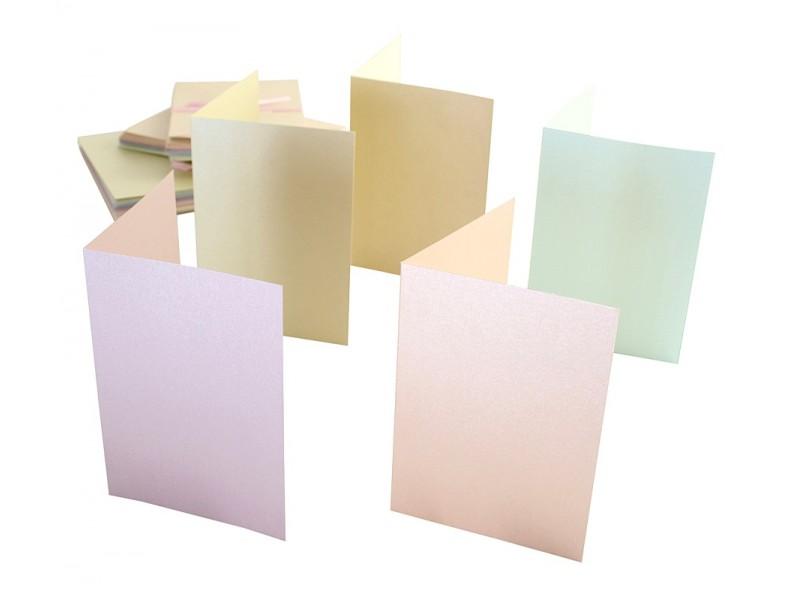 Заготовка для открыток А6 50шт с конвертом перлам. пастельный