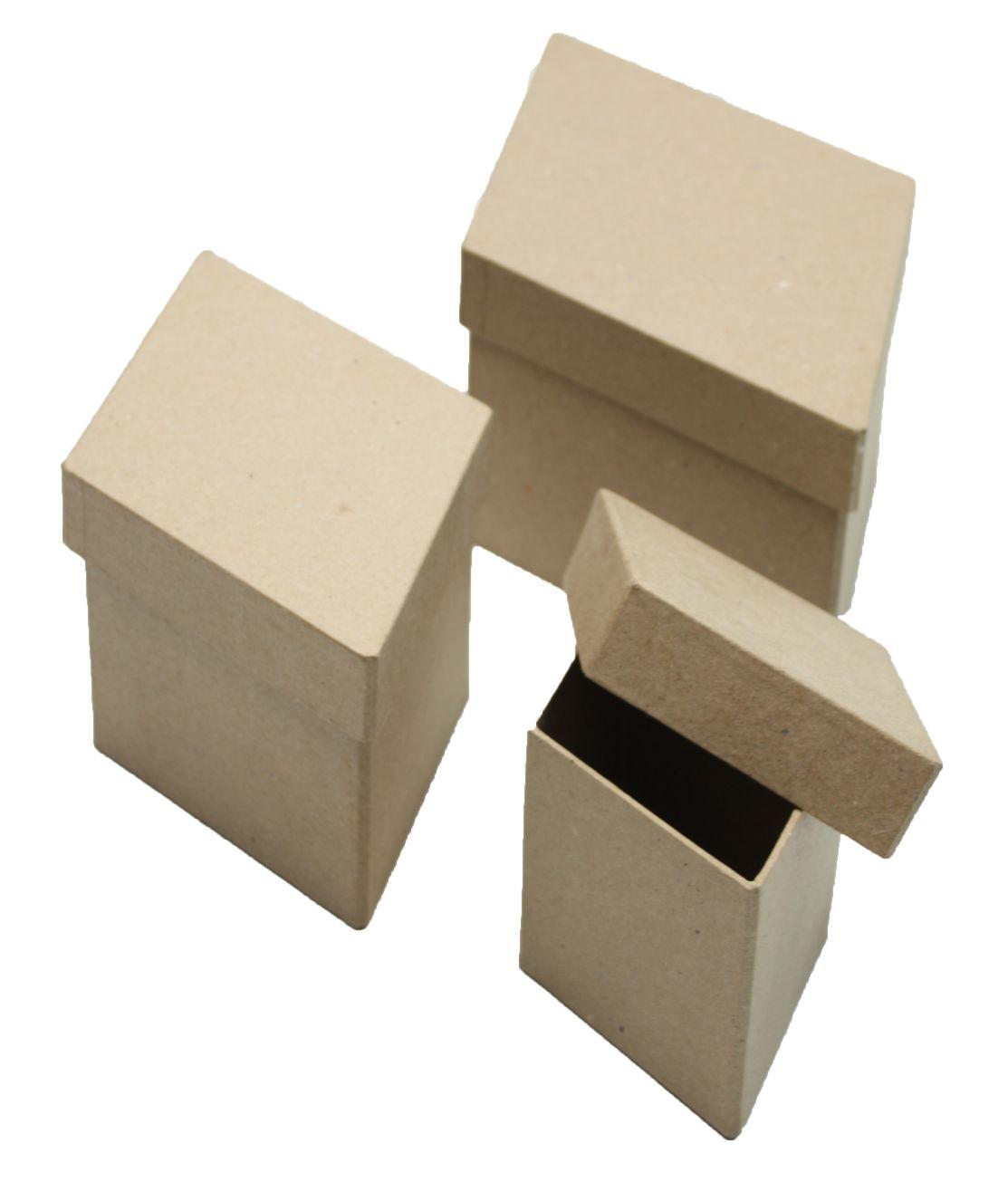 Заготовка папье-маше Набор: 3 коробочки в форме кристалла