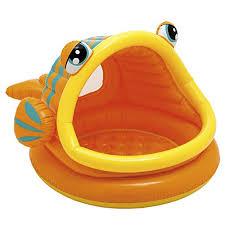 АКЦИЯ19 Игр для плавания Бассейн надувной с крышей Рыбка (от 1 до 3 лет)