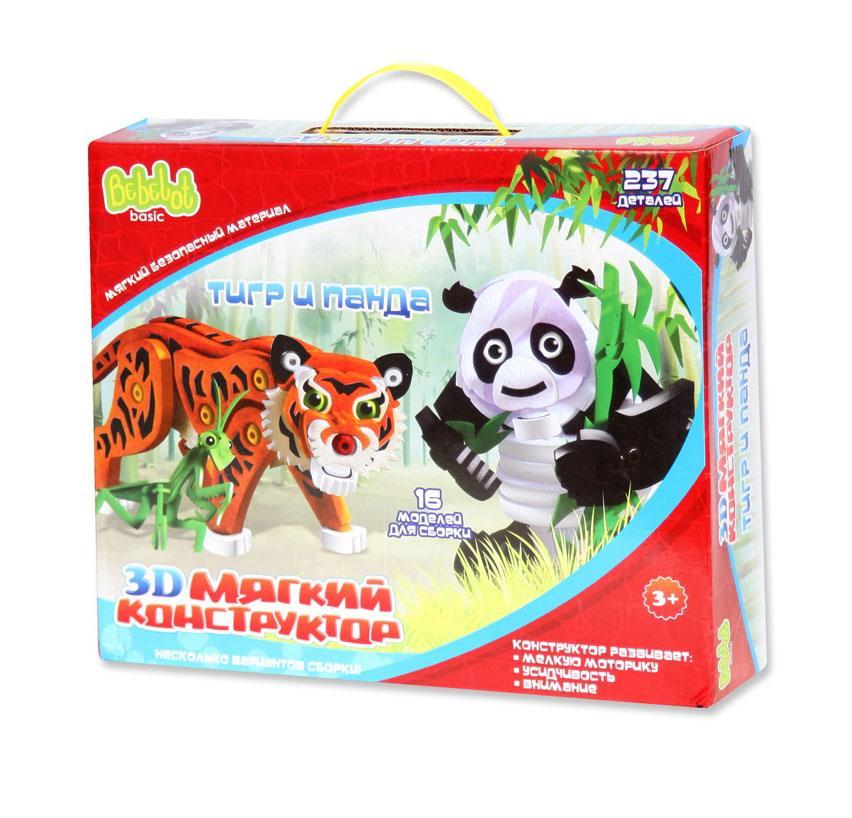 АКЦИЯ19 Игр Конструктор мягкий 3D Тигр и панда 237 дет.