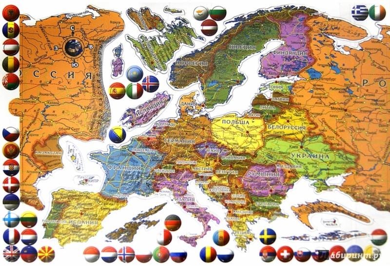 АКЦИЯ19 Пазл-карта Европа (магнитная) на холодильник