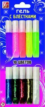 Творч Краски-клей 10цв с блестками