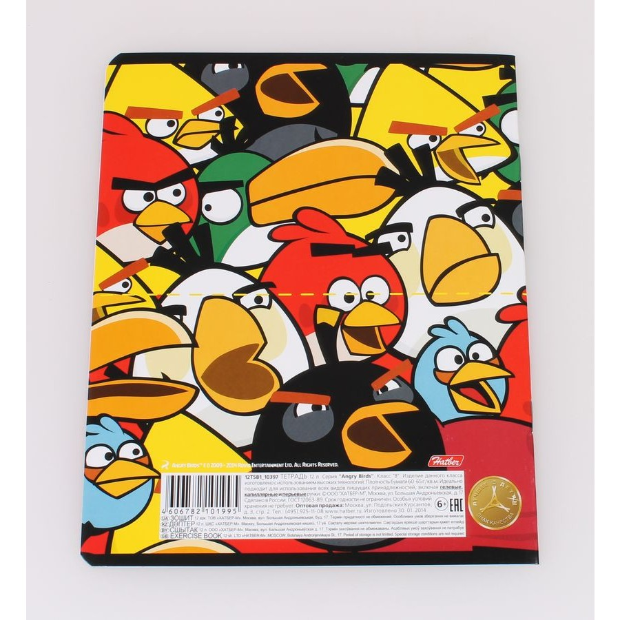 Тетрадь 12л клетка Angry Birds разрезная