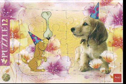 Пазл 12 Забавный щенок в рамке