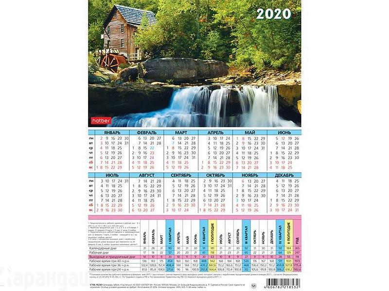 Календарь листовой 2020 (табель) КТб4 059770 Пейзажи