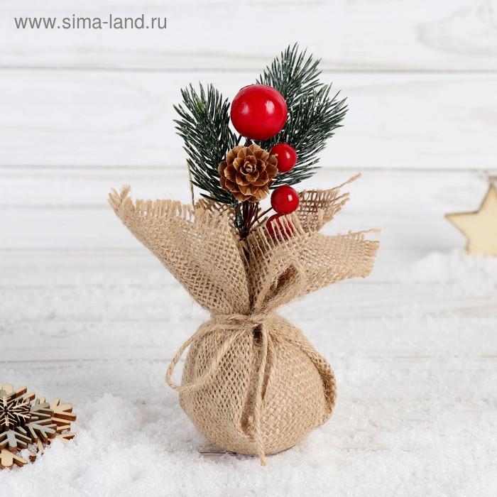 НГ Ветка 15см Зимнее очарование ягоды и шишка в мешочке