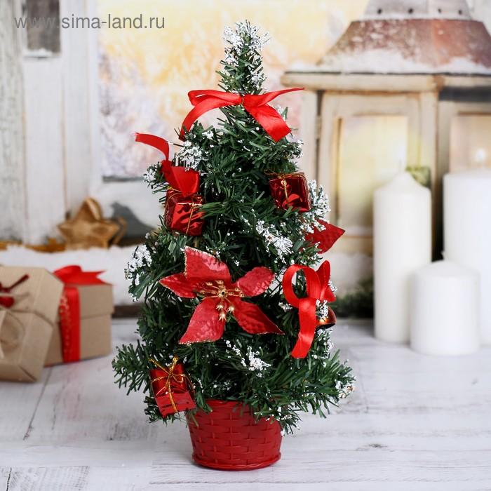 НГ Ёлка настольная 30см красная пуансетия в снегу