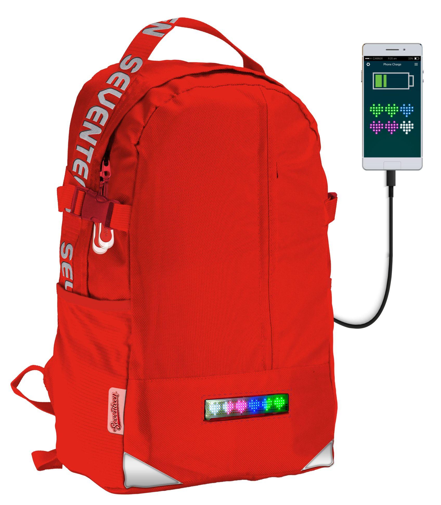 Рюкзак молодежный Seventeen LED Panel красный