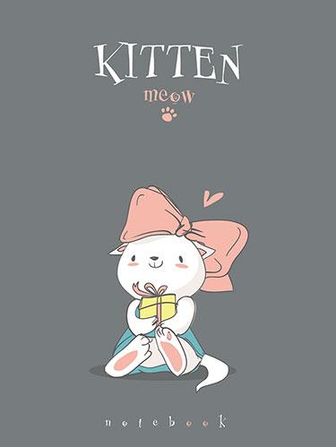 Зап. книжка детская А6 64л тонир с рисунком Котёнок