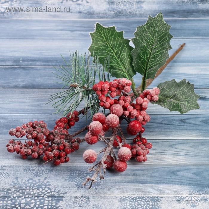 НГ Ветка 24см Зимние грезы калина красная ягодки в снегу